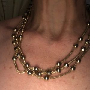 Vintage goldtone triple chain necklace solid gold
